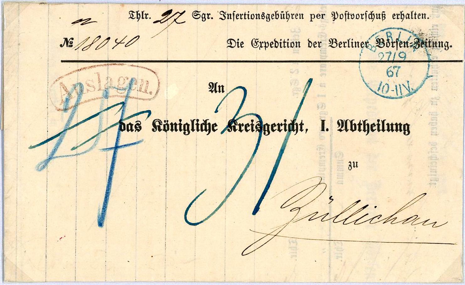 2018-November-2 - blauer Einkreisstempel auf Preussenbrief