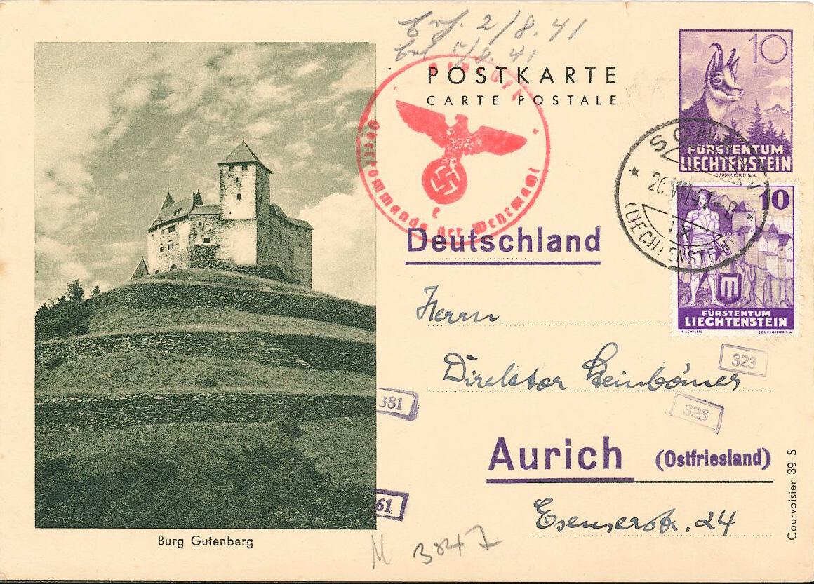 Zensurierte Liechtensteinische Ganzsache  1941