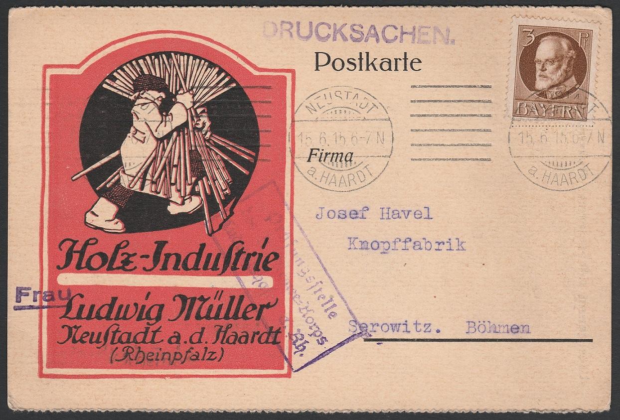 Postkarte von Neustadt nach Böhmen