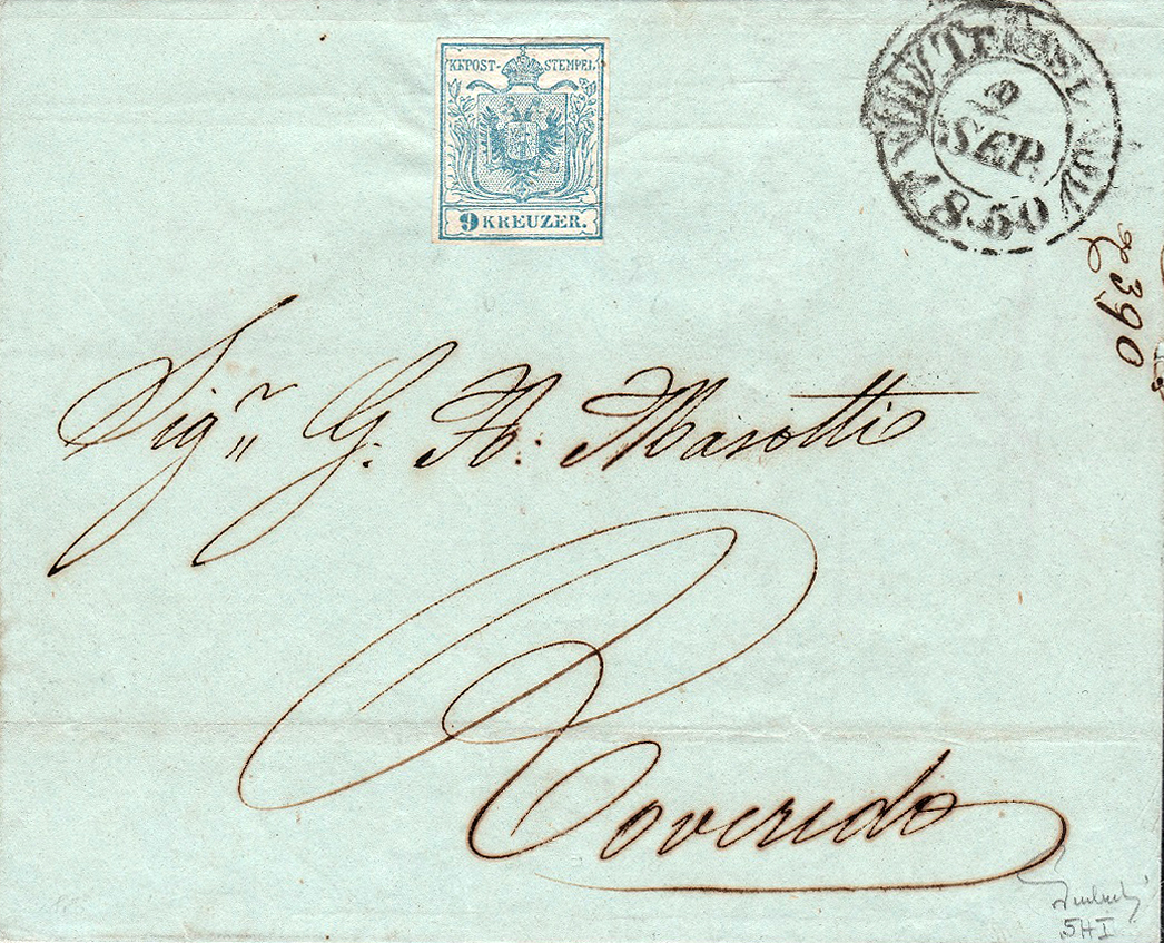 Brief 1850 von Triest nach Rovereto