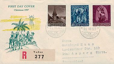 Weihnachtsbriefmarken Liechtenstein