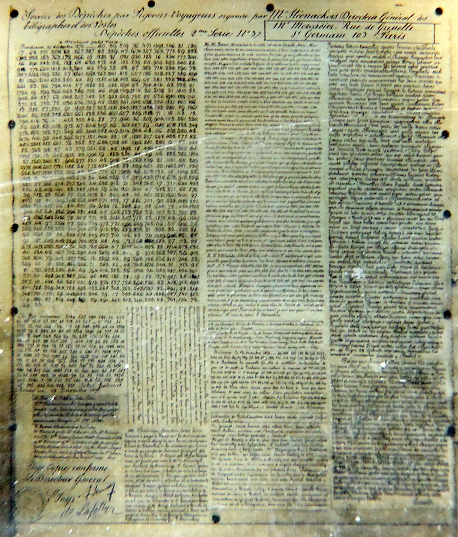 Pigeongramm aus dem Jahre 1871