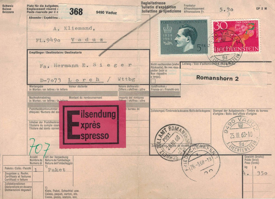 Paketkarte 1938