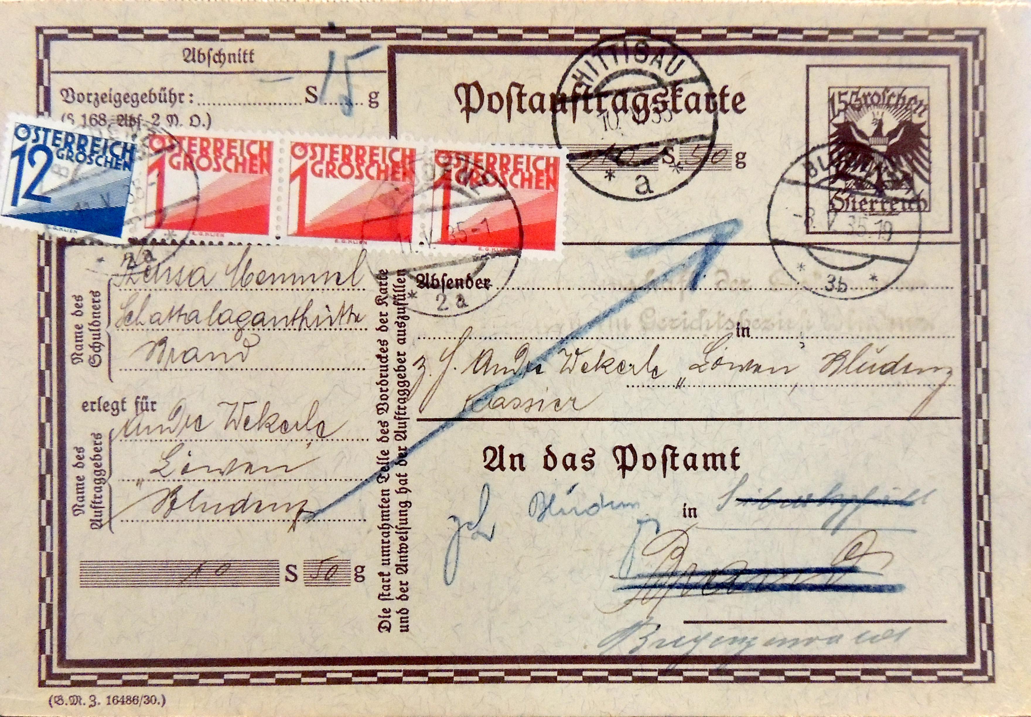 Postauftragskarte-Vorderseite