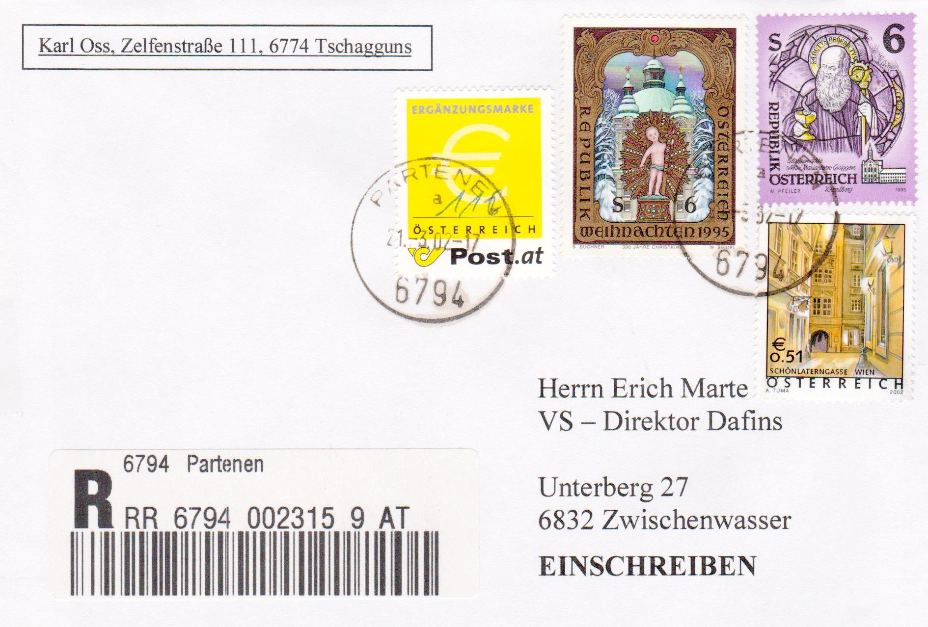 Beleg des Monats April 2018 - 3: RECO-Brief mit Mischfrankatur Schilling /Euro