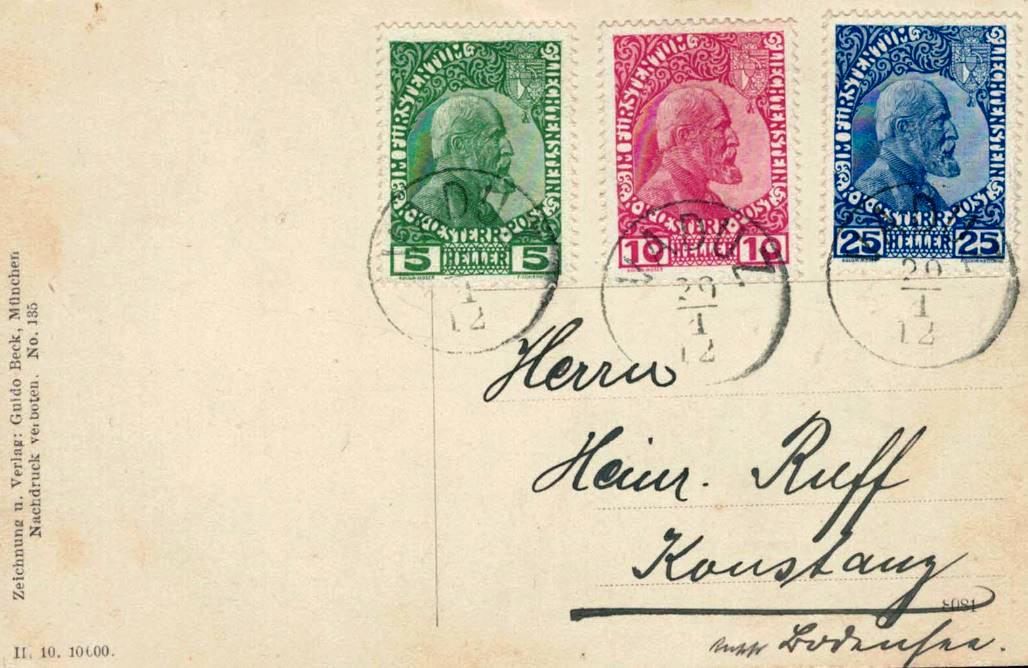 Erste Briefmarken Liechtensteins