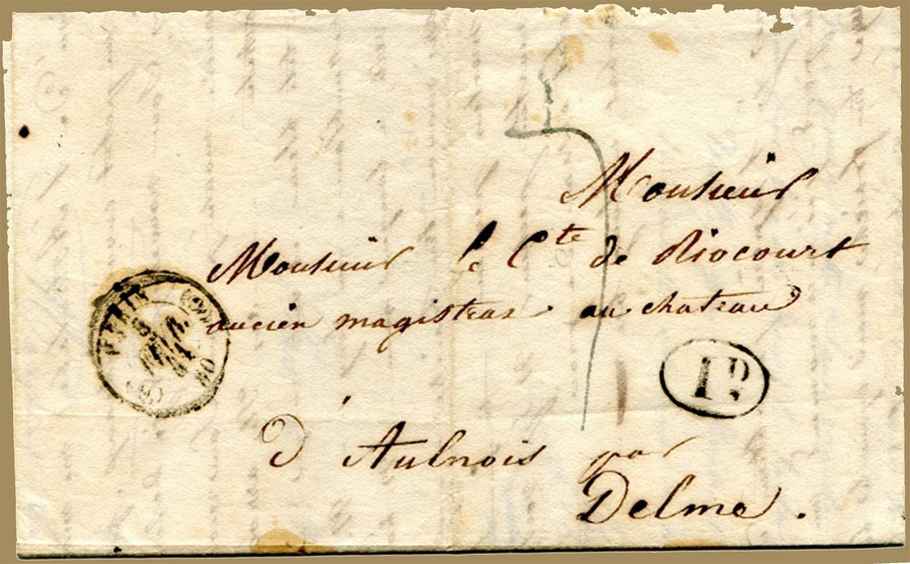Beleg des Monats Februar 2019  - Vorphilabrief von Dumont d`Urville nach Aulnois