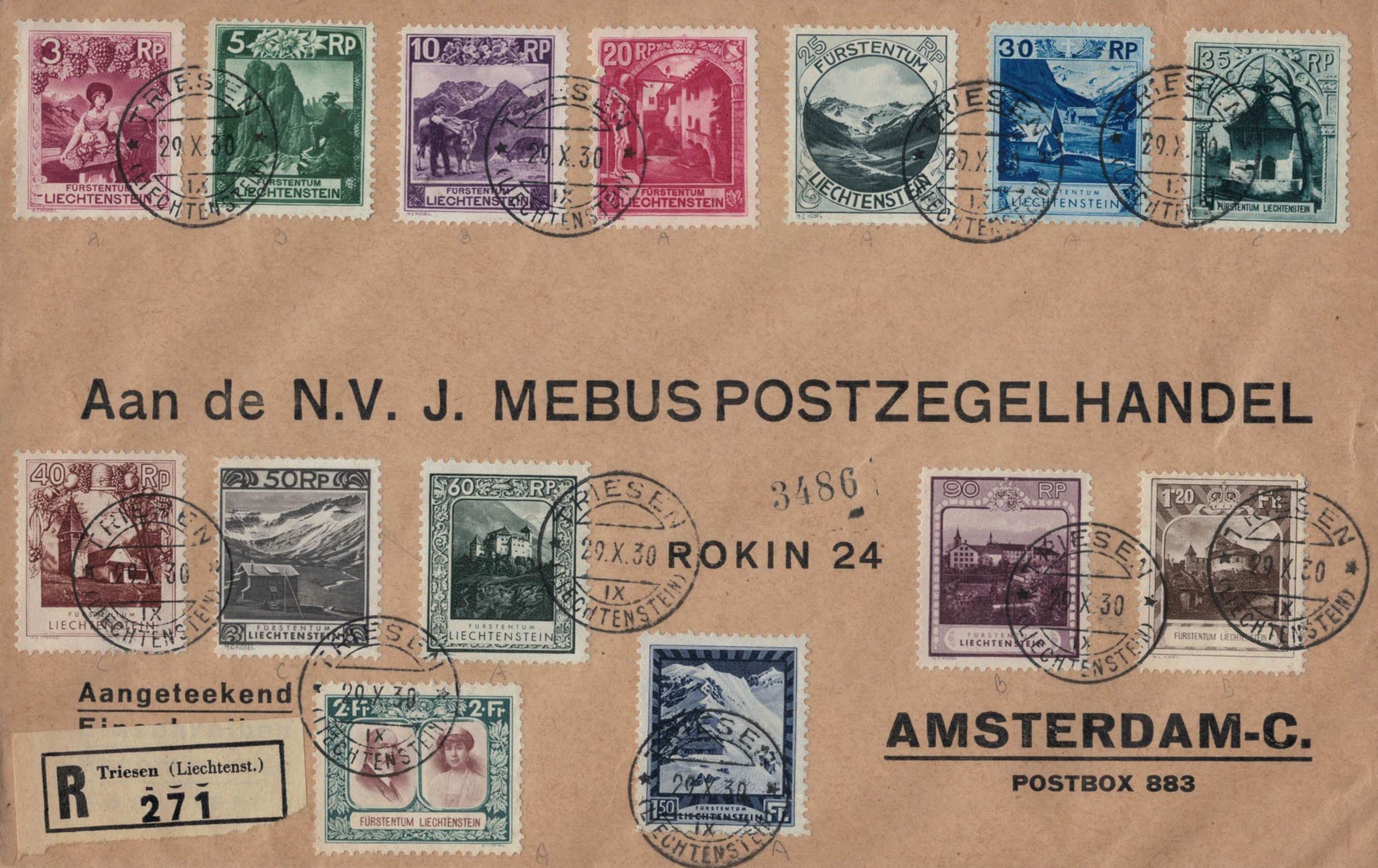 Freimarkensatz 1930 - Satzbrief