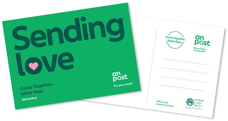IRELAND_2020_POSTAL_CARD_FREE_Come_Together_Write_Now_Sending_Love