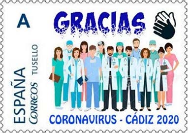 SPAIN_2020_STAMP_PERSONALISED_GRACIAS_Coronavirus_CADIZ_2020