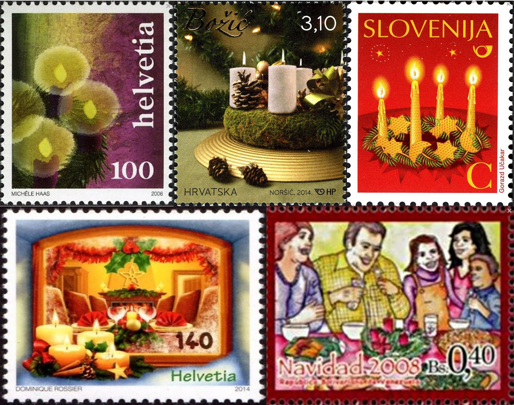 Advent Wreaths on Stamps