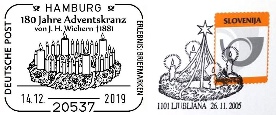 Adventskränze auf Briefmarken