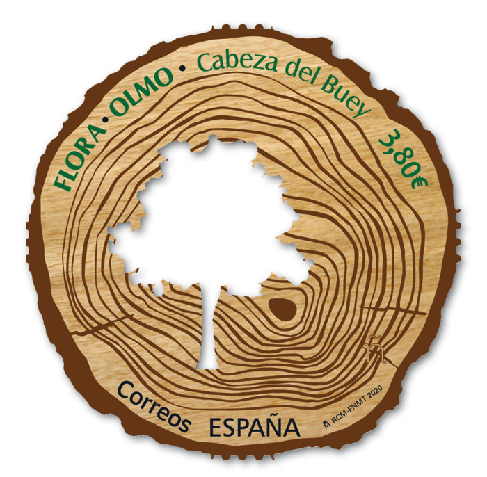 Elm tree on wood stamp