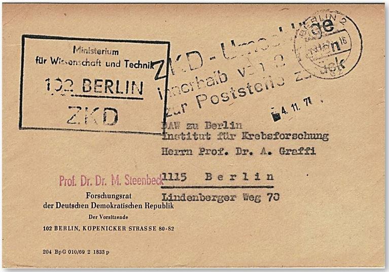 ZKD Brief von Prof. Steenbeck an Prof. Graffi