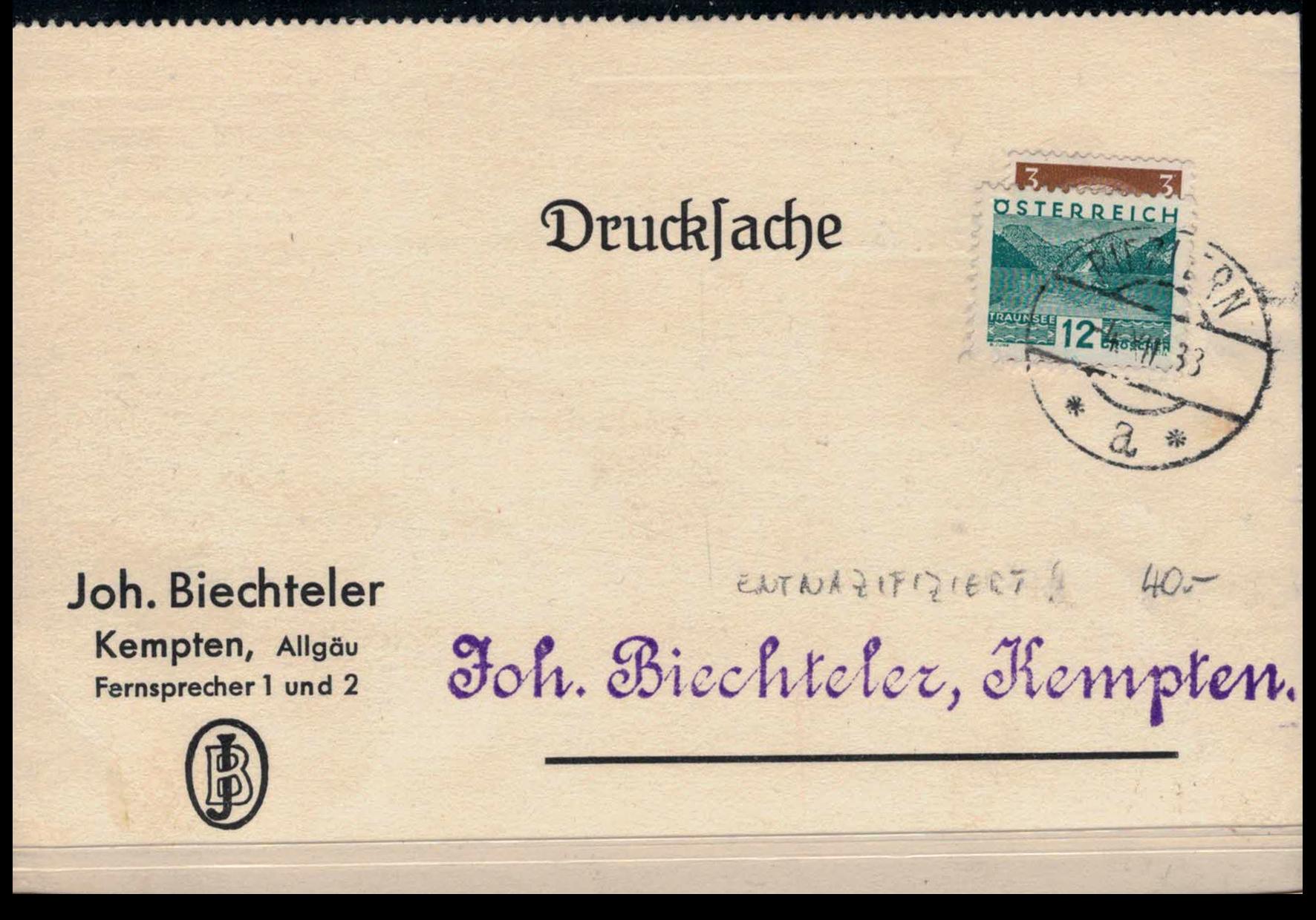 Riezlern - Drucksache 1933