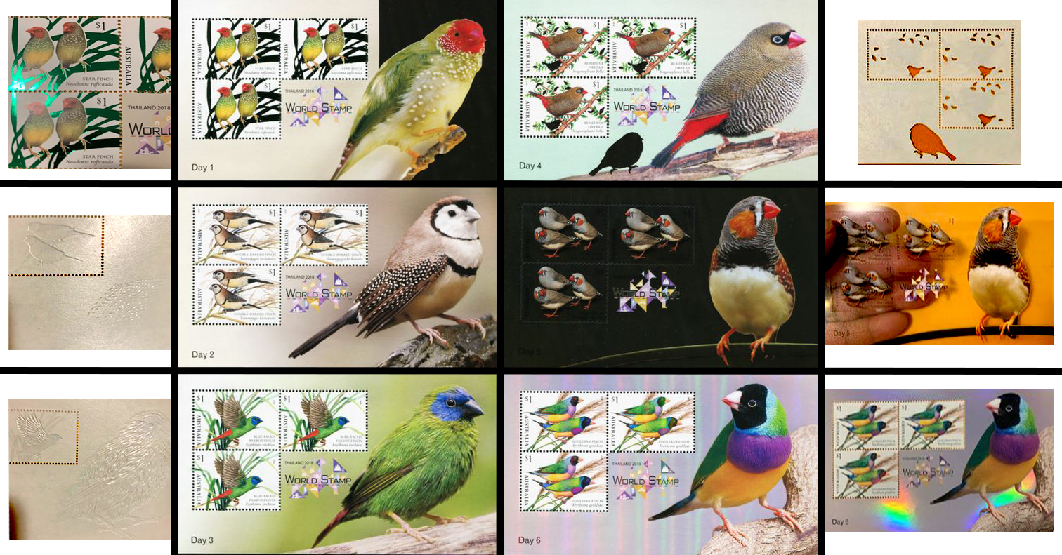Minisheets of australian finches