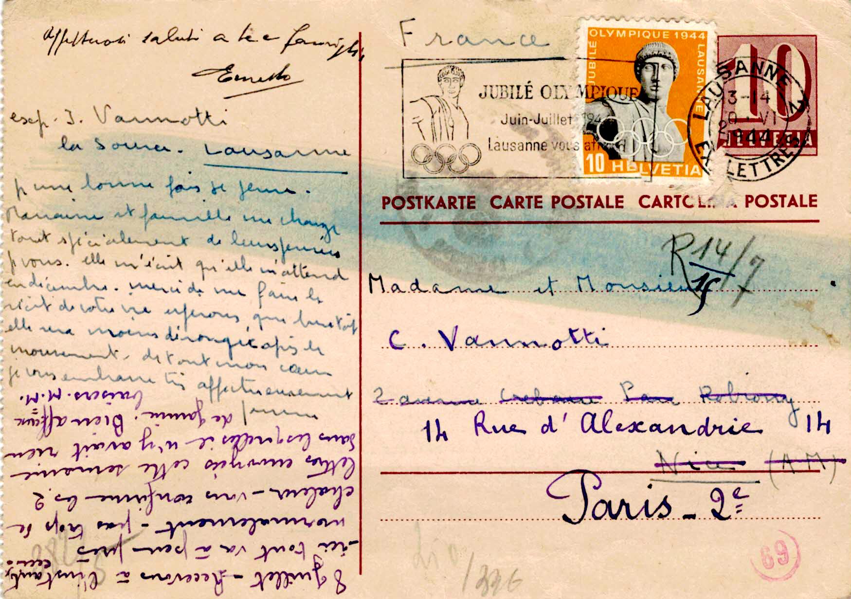Zensurierte Postkarte